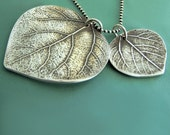 Mother and Child Aspen Leaf Necklace - Large -Sterling Silver