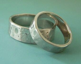 Shoreline Wedding Rings in 14k Palladium White Gold - Choose a Width - Beach Wedding