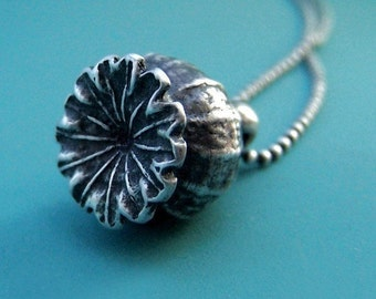 Poppy Pod Necklace in Sterling Silver