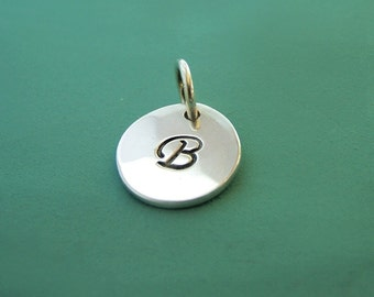 "Initial Letter Charm in Sterling Silver - 3/8"" - Personalized Custom Stamped - Gift for Mom"