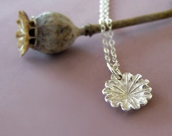 Tiny Flower Charm Necklace - Poppy - in Sterling Silver - Last Minute Gift