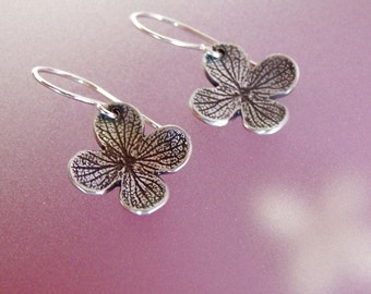 Hydrangea Flower Earrings in Sterling