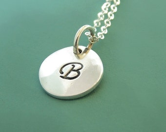 """Initial Letter Necklace in Sterling Silver - Hand Stamped Custom Personalized Gift for Mom - 3/8"""""""""""