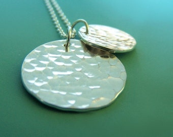 Hammered Disc Sterling Silver Necklace - Hand Hammered - Two Charms - Large Pool