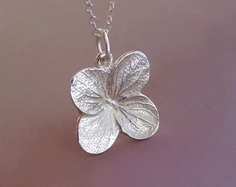 Hydrangea Flower Necklace in Sterling Silver - Last Minute Gift