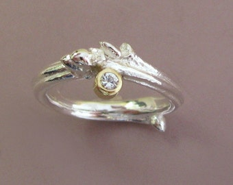 Oak Moissanite Twig Engagement Ring - Sterling Silver and 18k Gold