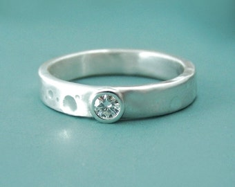 Moissanite Engagement Ring - Recycled Sterling Silver - Shoreline