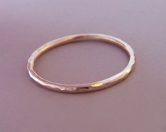 Rose Gold Stacking Ring - Hand Hammered 14k Recycled Gold - 1.3 mm