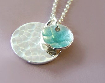 Blue Enamel Necklace - Transparent Blue Enamel - Two Hand Hammered Disc Charm Pendants - Pool