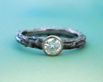 Twig Engagement Ring - Recycled 14k Palladium White Gold and Moissanite - Pine Branch