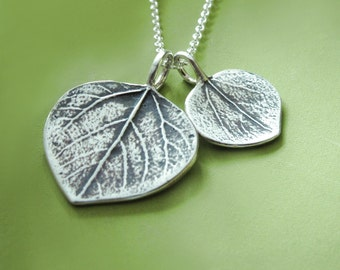Mother and Child Aspen Leaf Necklace in Sterling Silver - Gift for Mom - Last Minute Gift