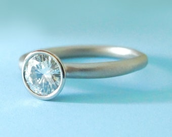 Moissanite Engagement Ring - Recycled 14k Palladium White Gold and Moissanite - River - Choose a Stone Size