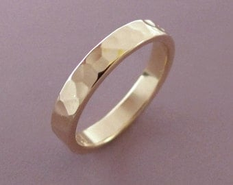 Hammered Gold Wedding Band - 3 mm - 14k Recycled Gold - READY TO SHIP - Size 10.25