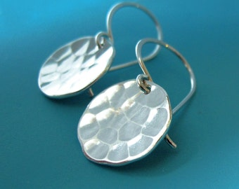 Hammered Earrings in Sterling Silver - Small Pool Hand Hammered Discs - Last Minute Gift