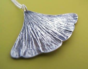 Sterling Silver Ginkgo Leaf Necklace