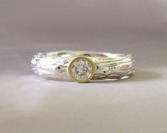 Moissanite Engagement Ring, Sterling Silver and 18k Yellow Gold, Wide Pine Branch Twig