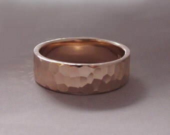 14k Rose Gold Wedding Ring - Hammered - Polished or Matte - Choose a Width