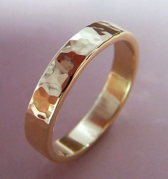 14k Gold Simple Hammered Band - 4 mm