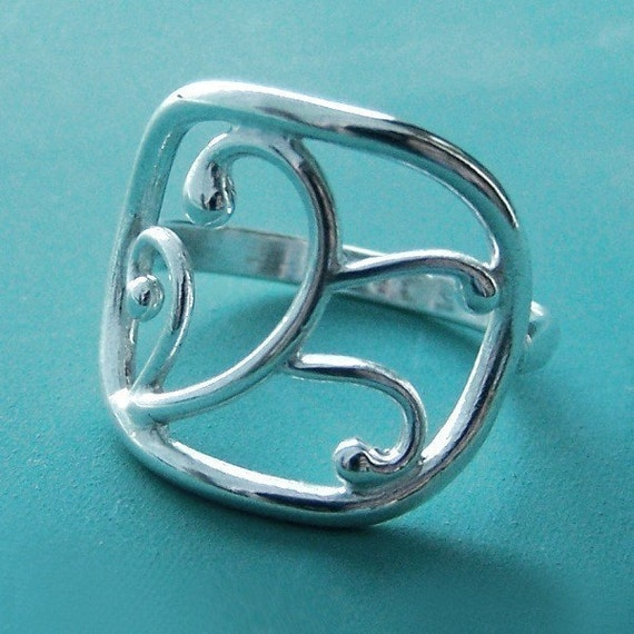Vine Ring - Sterling Silver - Filigree Scroll Work Statement Ring