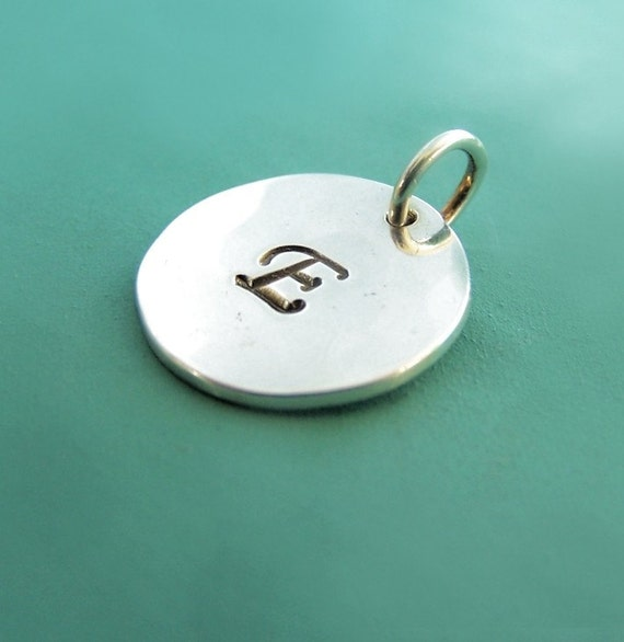 """Initial Letter Charm in Sterling Silver - Personalized Custom Stamped - Gift for Mom - 1/2"""""""
