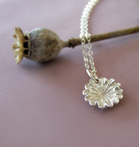 Tiny Flower Charm Necklace - Poppy - in Sterling Silver