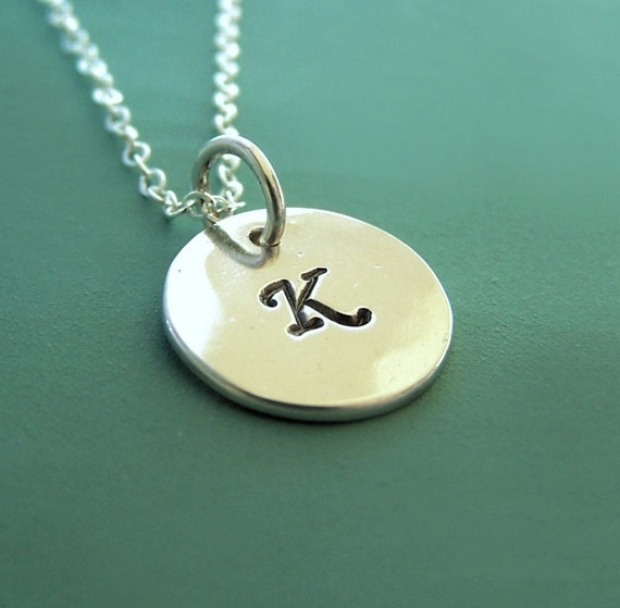 """Initial Letter Necklace in Sterling Silver - Hand Stamped Custom Personalized Gift for Mom - 7/16"""""""