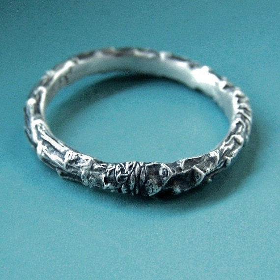 Sterling Silver Twig Ring - Narrow Pine Branch