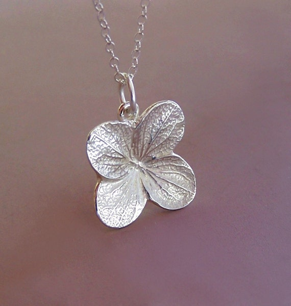 Hydrangea Flower Necklace in Sterling Silver - Last Minute Gift