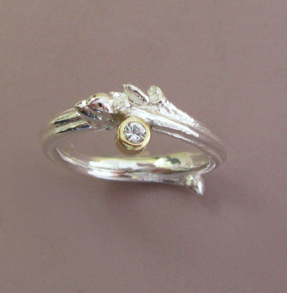 Oak Twig Engagement Ring in Sterling Silver 18k Gold and Moissanite - READY TO SHIP - Size 7.5