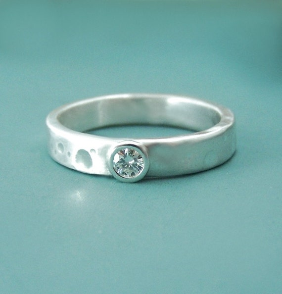 moissanite engagement ring recycled sterling silver