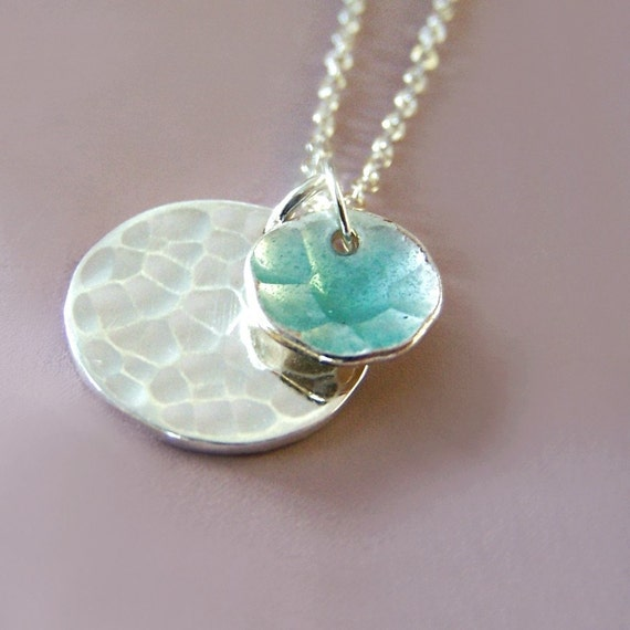 Blue Enamel Necklace - Transparent Blue Enamel - Two Hand Hammered Disc Charm Pendants - Pool