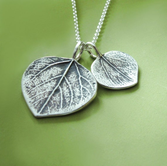 Mother and Child Aspen Leaf Necklace in Sterling Silver - Gift for Mom