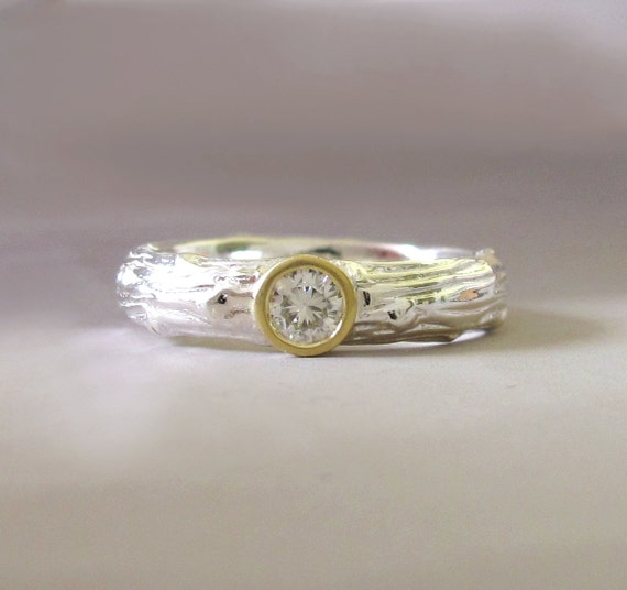 moissanite engagement ring sterling silver and 18k yellow
