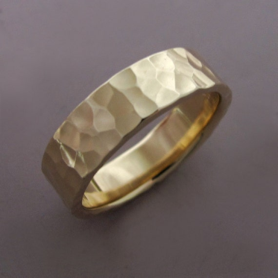 14k Gold Wedding Ring in Hammered 14k Recycled Yellow Gold - Choose a Width