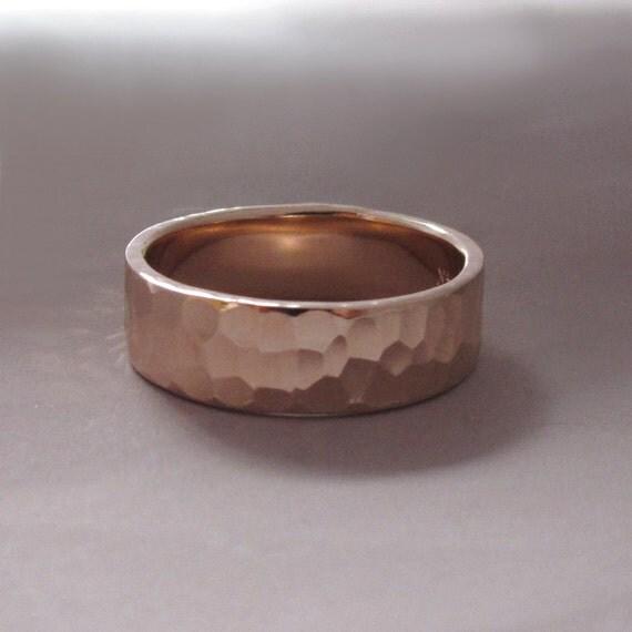 14k Rose Gold Wedding Ring - Hammered - Polished or Matte - Choose a Width