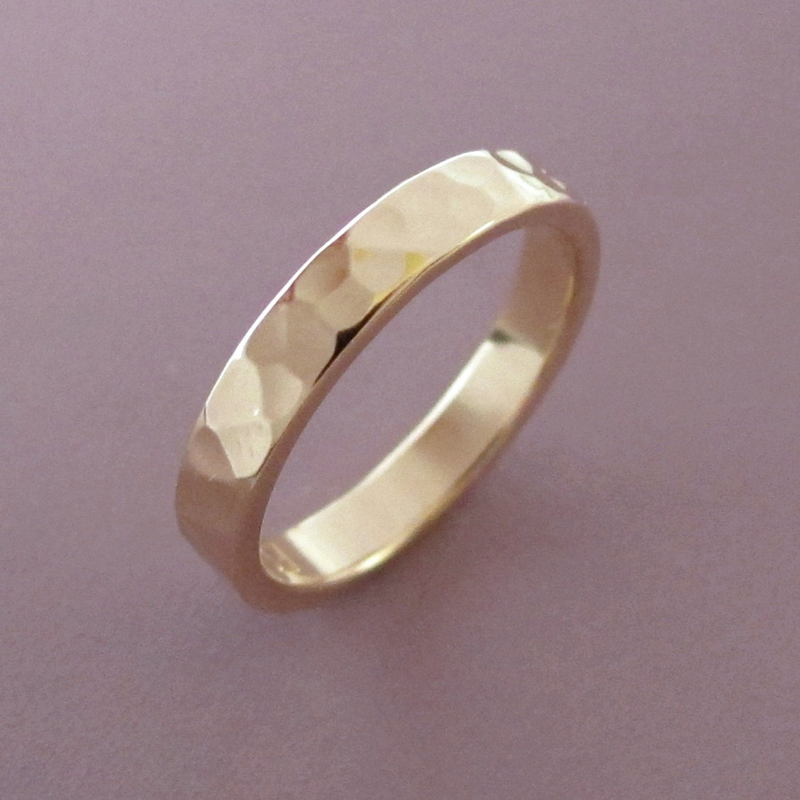 Hammered Gold Wedding Band 3 Mm 14k Recycled READY TO