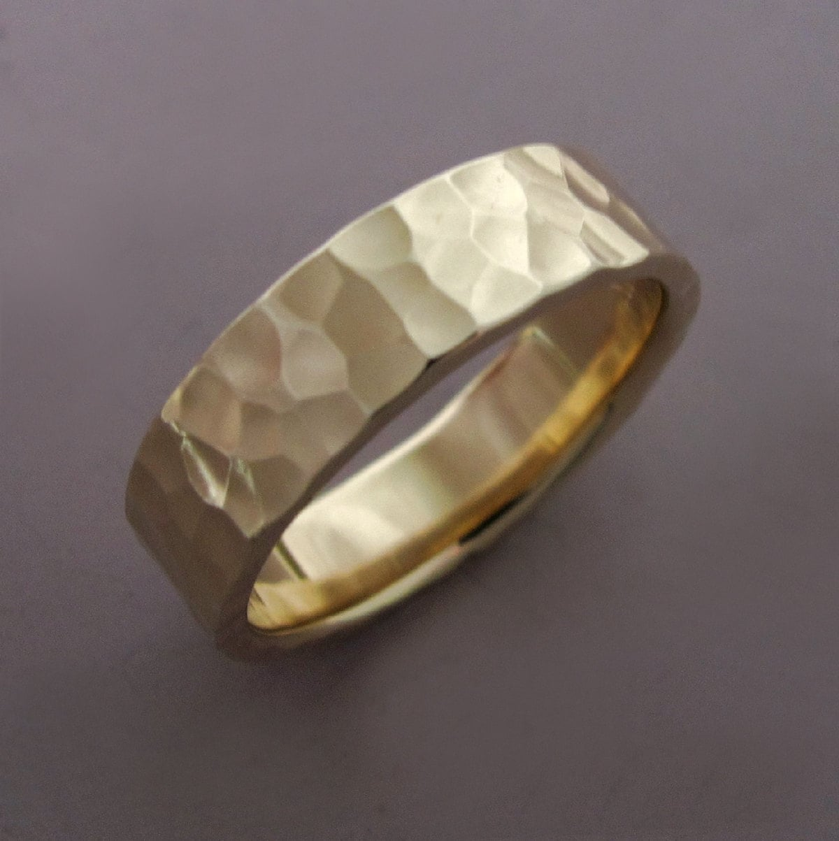 14k Gold Wedding Ring In Hammered Recycled Yellow