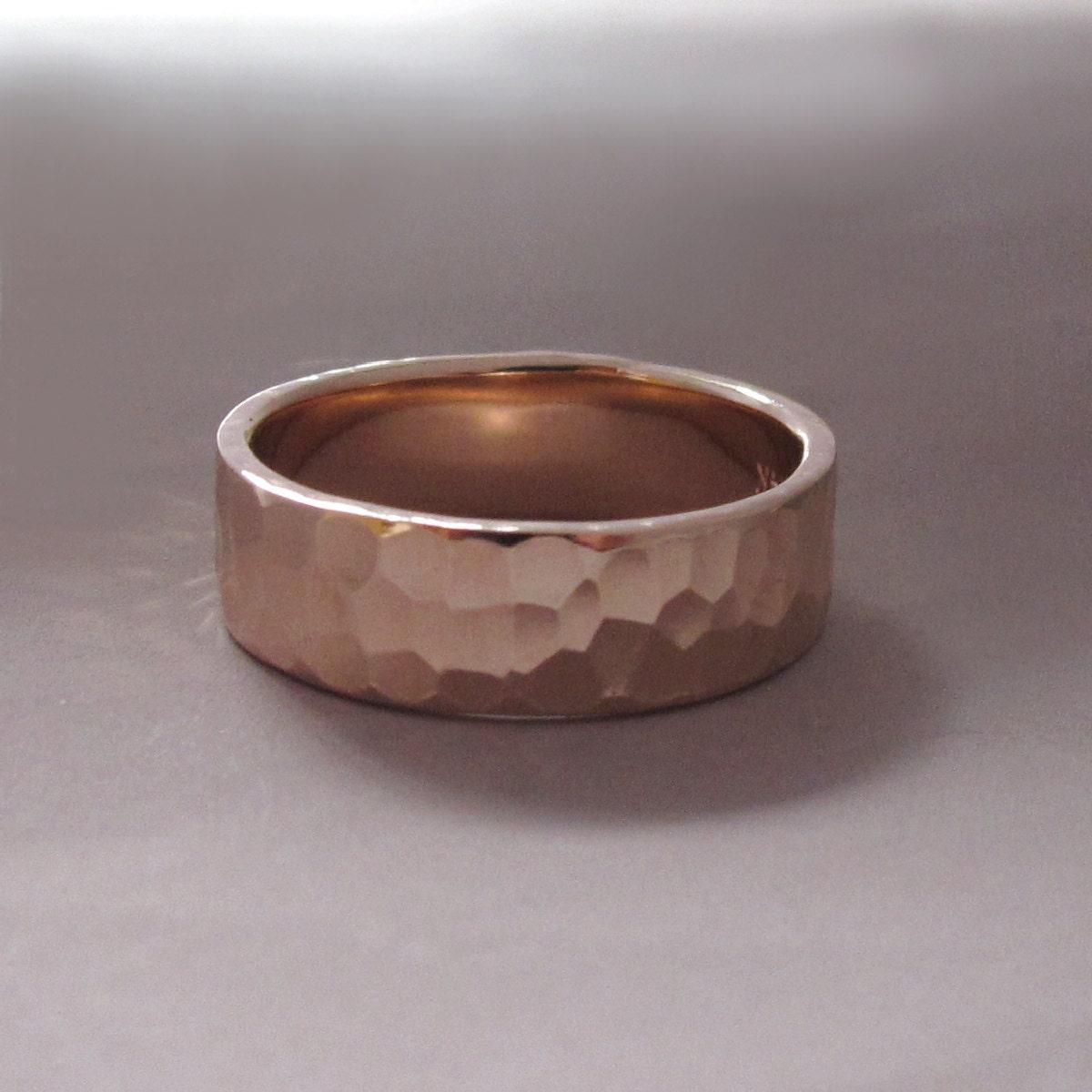 14k gold wedding ring hammered polished or matte