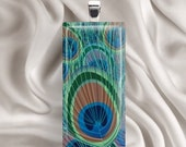 Pretty Peacock Feather - Glass Tile Pendant