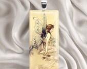 Vintage Fairy - Rectangle Glass Tile Pendant Necklace