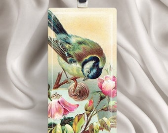 Rosebud Bird - Rectangle Glass Tile Pendant Necklace