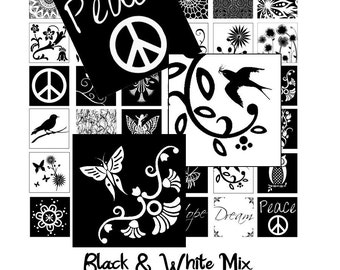 Black and White Mix - Instant Download - Digital Collage Sheet - 1 Inch Squares - 42 Images