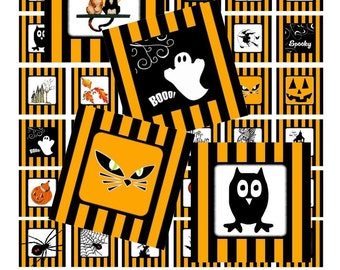 Halloween in Stripes - Digital Collage Sheet - 1 Inch Squares - Instant Download