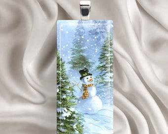 Winter Snownan Pendant Necklace - Enjoy - Rectangle Glass Tile Pendant