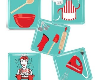 Retro Kitchen-   Glass Tile Magnet Set