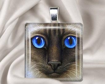 Siamese Face - Square Glass Tile Pendant Necklace -  Cat Pendant