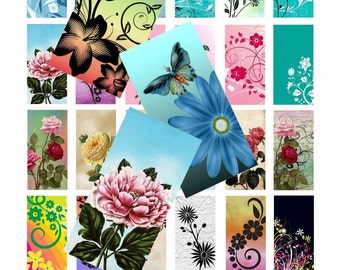 Fancy Florals - Instant Download -  Digital Collage Sheet - 1 Inch X 2 Inch Rectangles - 24 Images
