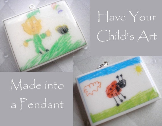 Children's Artwork Pendant Necklace - Your Childs Art on Clay - Polymer Clay Pendant
