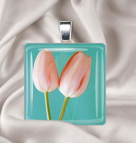Simple Tulips - Glass Tile Pendant