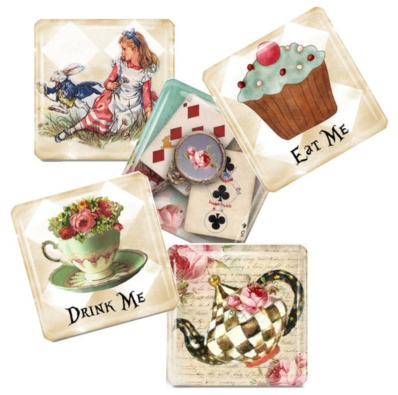 Alice in Wonderland  Glass Tile Magnet Set - The Whimsy of Alice